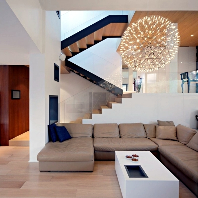 99 Modern Staircases Designs – Absolute Eye Catcher In The Living   Modern Living Room With Stairs   Stylish   House   Mansion   Dining Room   Sleek Modern