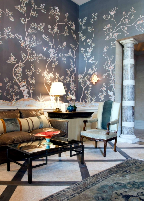 Handpainted Chinese silk wallpaper with Chinoiserie floral pattern  Interior Design Ideas