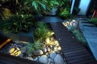 Modern urban garden landscape conveys a touch of exoticism ...