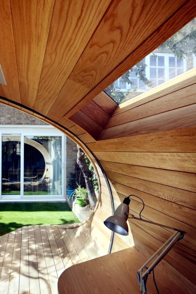 Modern wooden pavilion in the garden design will