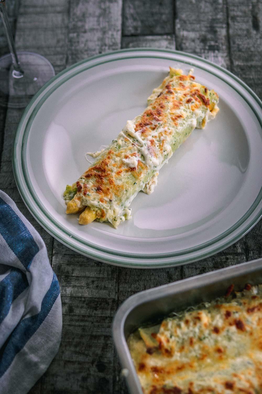 Spargel aus dem Ofen überbacken Kräuterpfannkuchen weißer Sargel kochen Foodblog ofen offen