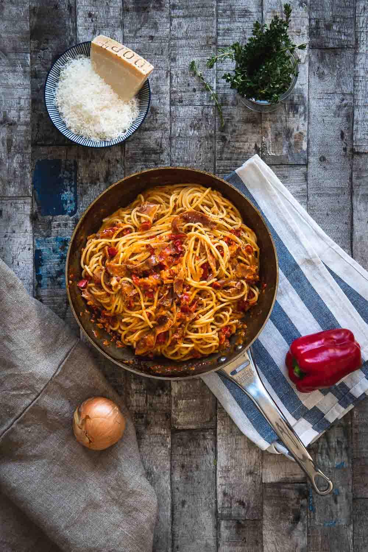 Carbonara Rezept Paprika Ofen offen Foodblog