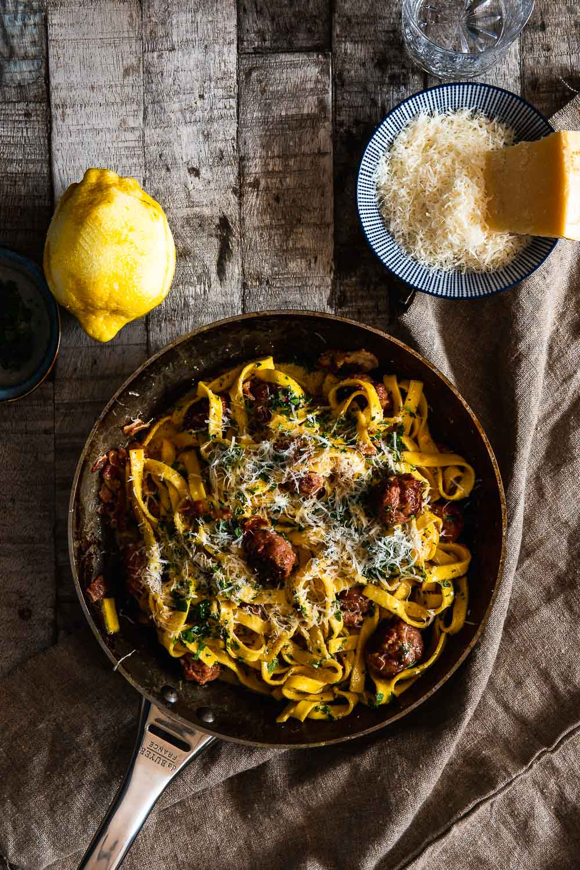 Carbonara Soße Salsiccia Rezept Ofen offen
