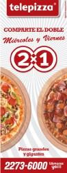 Pizza 2x1 de Telepizza Miercoles y Viernes