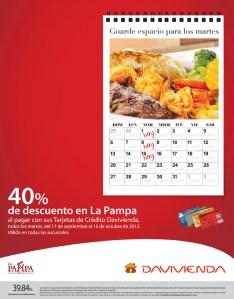 Davivienda descuento restaurante LA PAMPA - 01oct13