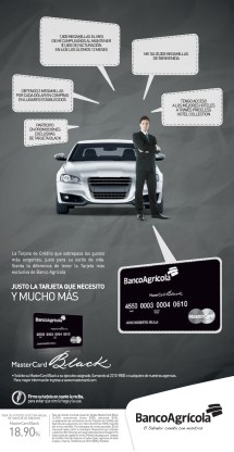 Master card Black de banco agricola