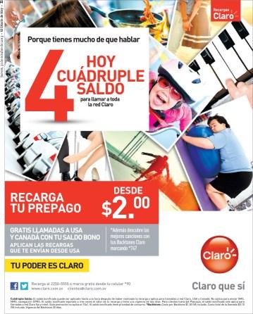 Recargas CLARO hoy cuadruple saldo - 31oct13