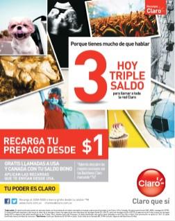Recargas CLARO hoy triple saldo - 28oct13