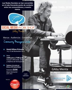Social media Work Shop presenta GABY MENTA en el salvador 2013