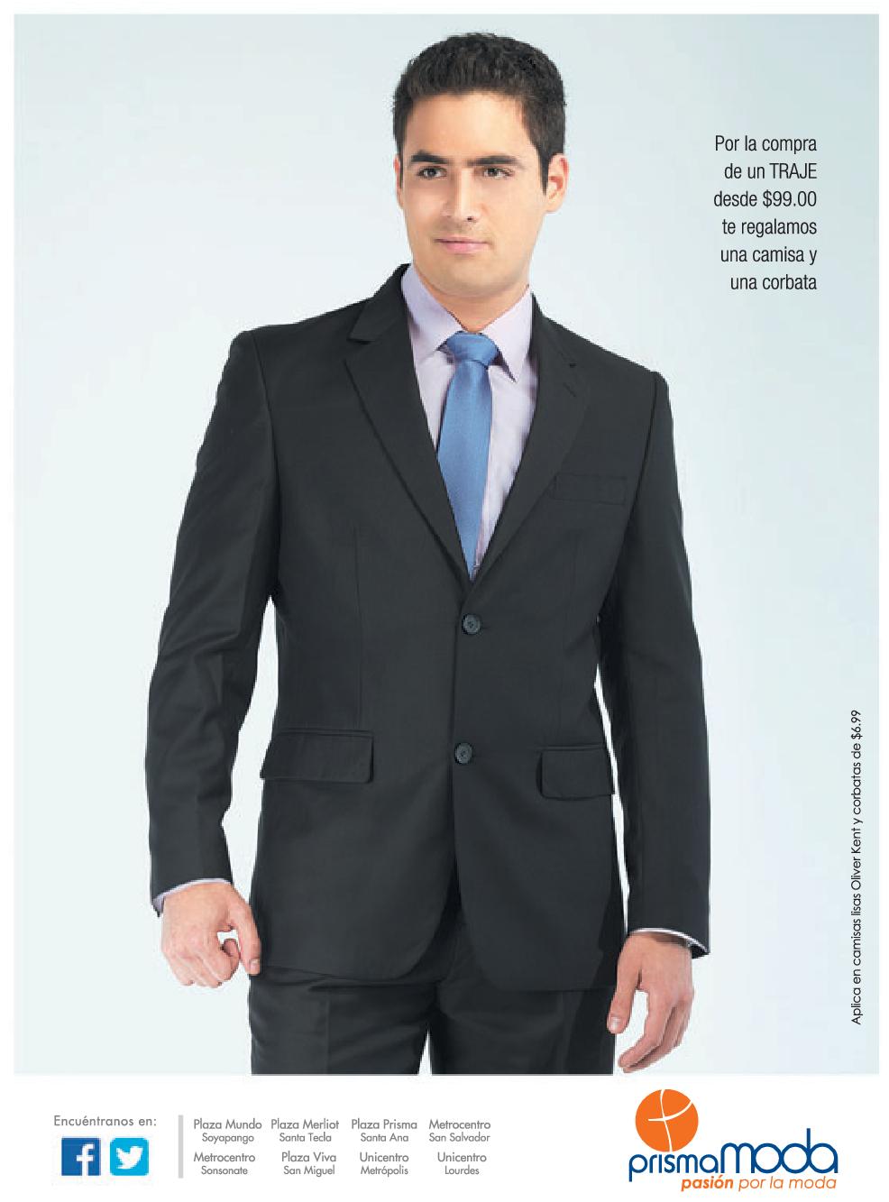 2300bfa76cfe1 Traje para caballero en PRISMA MODA promocion camisa y corbata ...