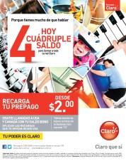 recargas CLARO hoy cuadruple saldo - 25oct13