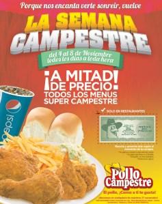 CUPON a mita de precio de POLLO CAMPESTRE - 05nov13