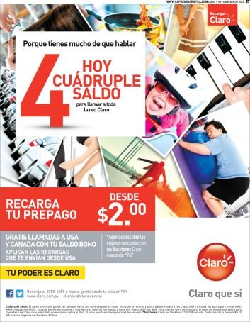 Promociones CLARO hoy cuadruple saldo - 04nov13