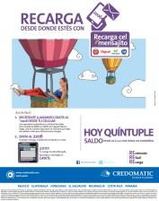 Recarga CEL mensajito CREDOMATIC hoy quintuple saldo - 20nov13
