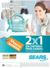 SEARS promocion de hoy 2x1 en carteras para damas - 06nov13