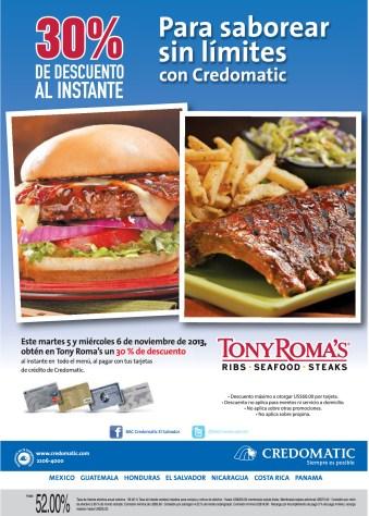 Tonys Romas descuento al instante con CREDOMATIC - 05nov13