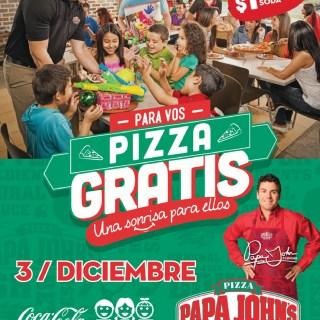 HOY Pizza Gratis en Papa Johns una sonrrisa para ellos - 03dic13