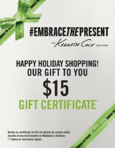 Kenneth Cole new york GIFT CERTIFICATE - 16dic13