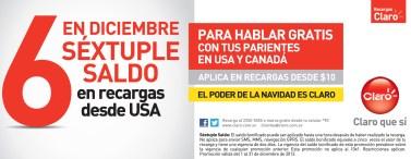 Recargas CLARO sextuple saldo USA y CANADA - 03dic13