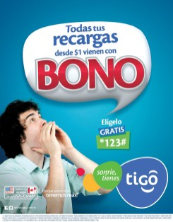 Recargas TIGO todas tiene BONO de premio - 21dic-13