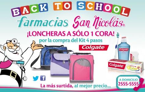 back to school colgate con loncheras Farmacias Sna Nicolas - ene14