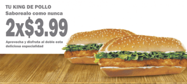promocion King de Pollo Burger King El salvador