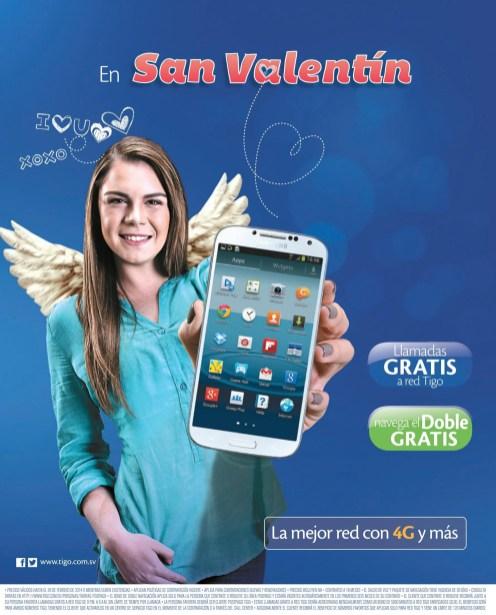 Promocion SAN VALENTIN llamadas GRATIS e internet TIGO el salvador - 12feb14
