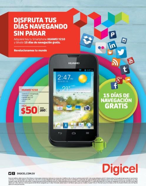 Rebajado smartphone HUAWEI y210 android DIGICEL el salvador - 01feb14