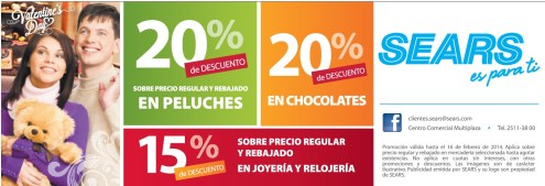 SEARS descuento san valentin chocolates y peluches - 11feb14