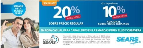 Semana de la Tarjeta SEARS descuento CUBAVERA PERRY ELLIS - 20feb14