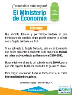 Subsidio al GAS Febrero Ministerio de Economia de El Salvador