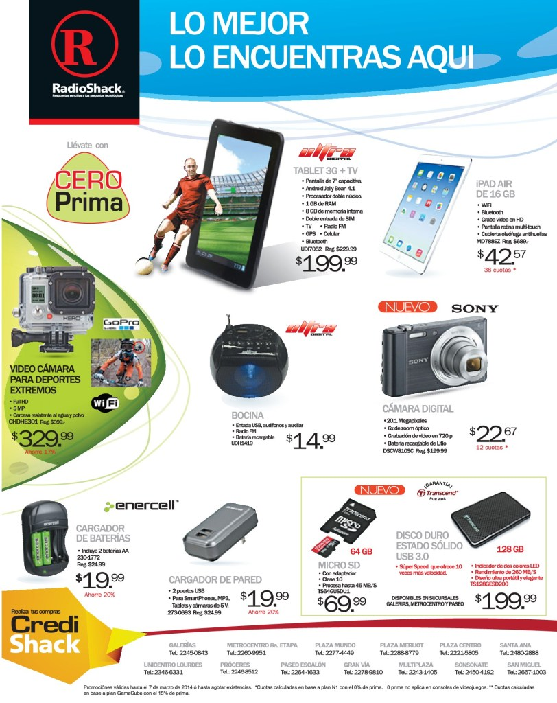 TABLET ultra digital IPAD Air Video Cameras RADIOSHACK el salvador - 28feb14