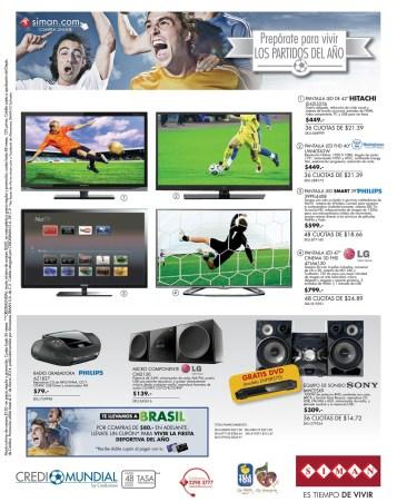 Credi MUNDIAL Brasil 2014 SIMAN ofertas pantallas HITACHI PHILLIPS LG - 24mar14