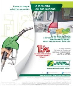 Llena tu tanque de gasolina DESCUENTO tarjeta sistema fedecredito - 06mar14