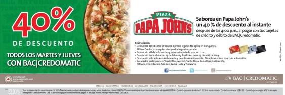 Pizza PAPA JOHNS sv descuento BAC CREDOMATIC - 27mar14