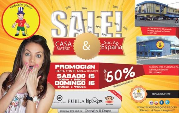 SALE promociones almacenes VARIEDADES GENESIS el salvador - 15mar14