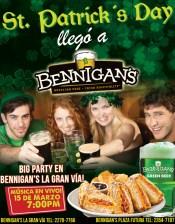 St Patricks DAY promotion BENNIGANS