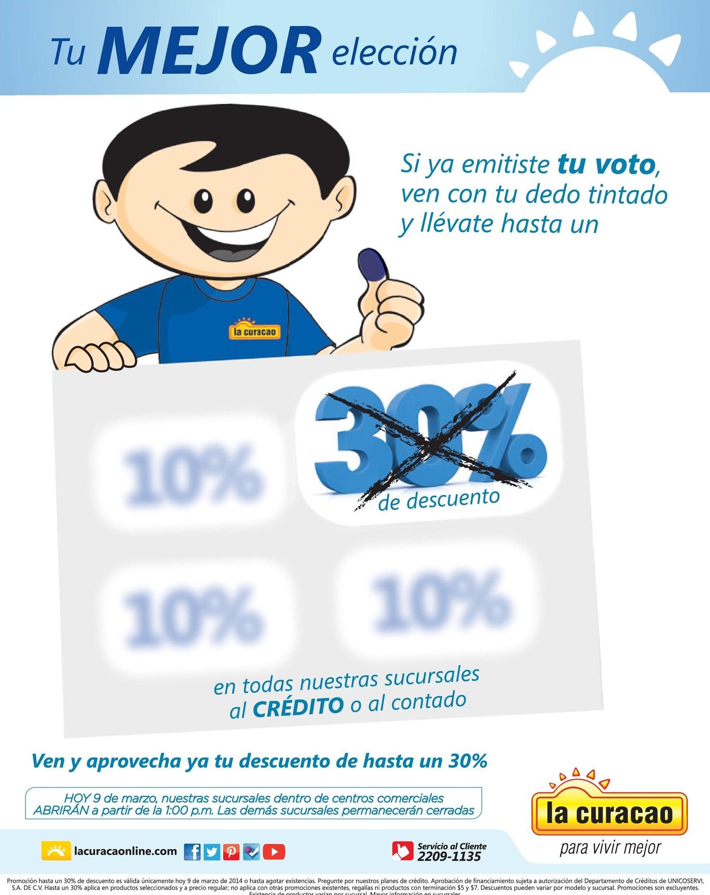 Tu mejor elcciones DESCUENTO por tu voto LA CURACAO - 09mar14