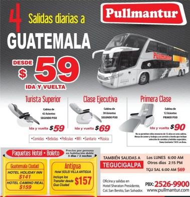 Turista primera clase ejecutivo BUSES a GUATEMALA - 26mar14