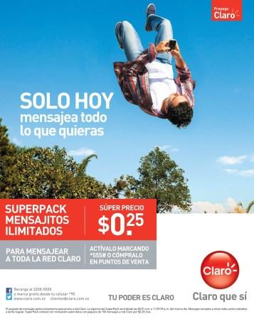 sOLO hoy super pack mensajitos CLARO el salvador - 10mar14