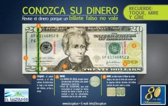 Conozca su dinero BILLETE de 20 BCR el salvador
