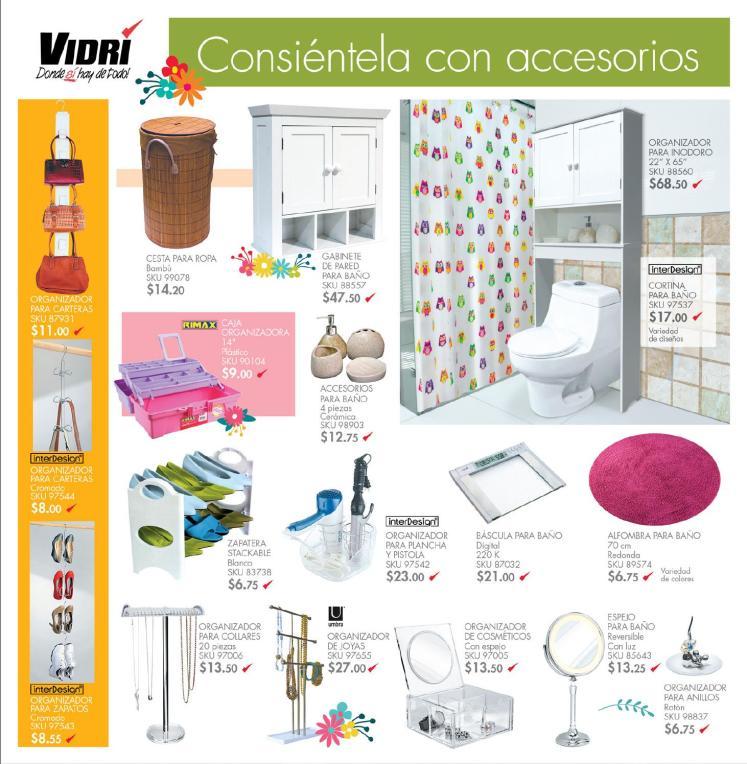 Ferreteria VIDRI preciosos accesorios para baño organizadores mayo 2014