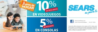 Jueves de HOgar DESCUENTOS video games y consolas SEARS - 22may14