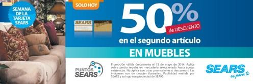 MUEBLES segundo articulo descuento SEARS - 15may14