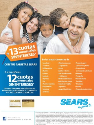 la tarejta SEARS tiene estas promociones - 09may14