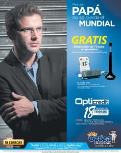 GRATIS sintonizador TV USB por compras OPTICA La Curacao - 02jun14
