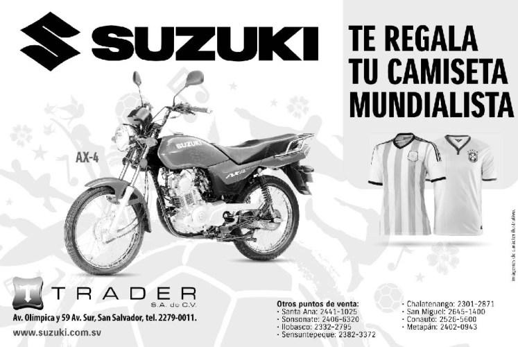 Motos SUSUKI te regla camiseta mundialista - 09jun14