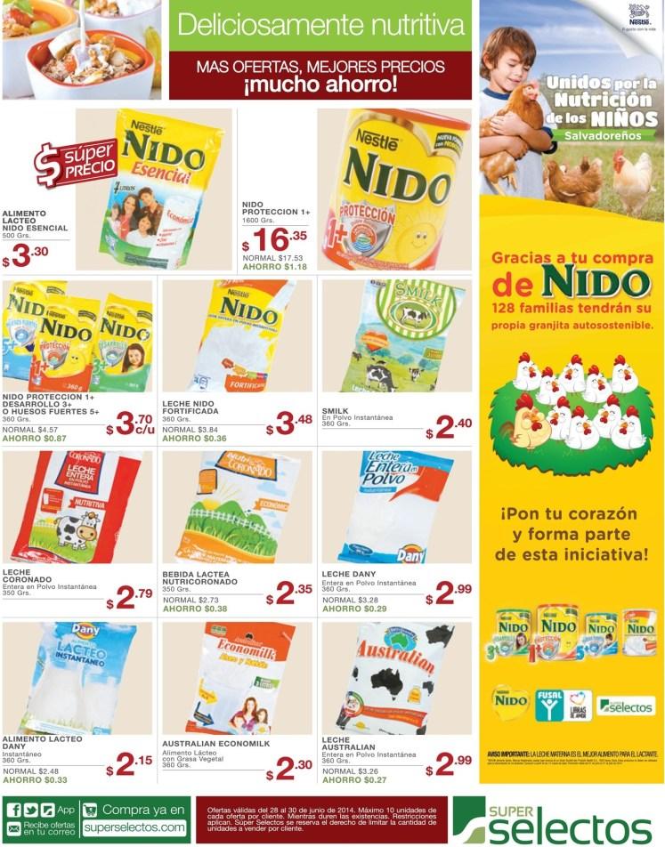 estas son las ofertas en leche SUPER SELECTOS - 28jun14