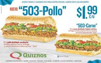 sandwiches QUIZNOS pollo y carnes promocion