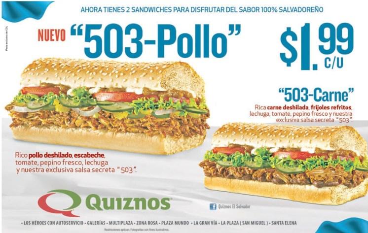 sandwiches del sabor salvadoreño 503 pollo 503 carne